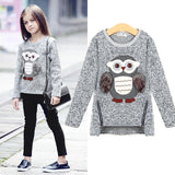 Girls Fleece Lined Zipper sweater Cartoon Cute Owl Casual Cotton Girls Winter Clothes Girls Sweater 5 6 7 8 9 10 12 14 Yrs