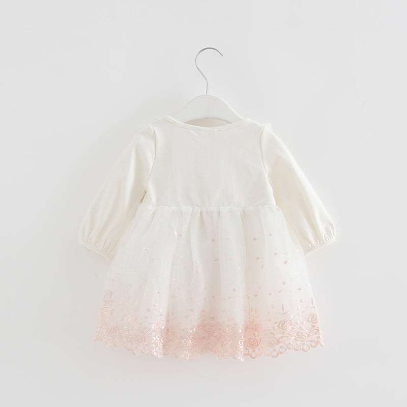 Autumn Fashion Baby Girl Dress Lace Flower Embroidery Long Sleeve Children Clothes kids dress girls dresses 0-2T 3 color