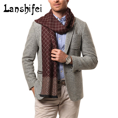 2017 New Male Cashmere Scarf Winter Men's Classic Grids Men Casual Scarf Warm Neckercheif Scarves Tassel 5Colors