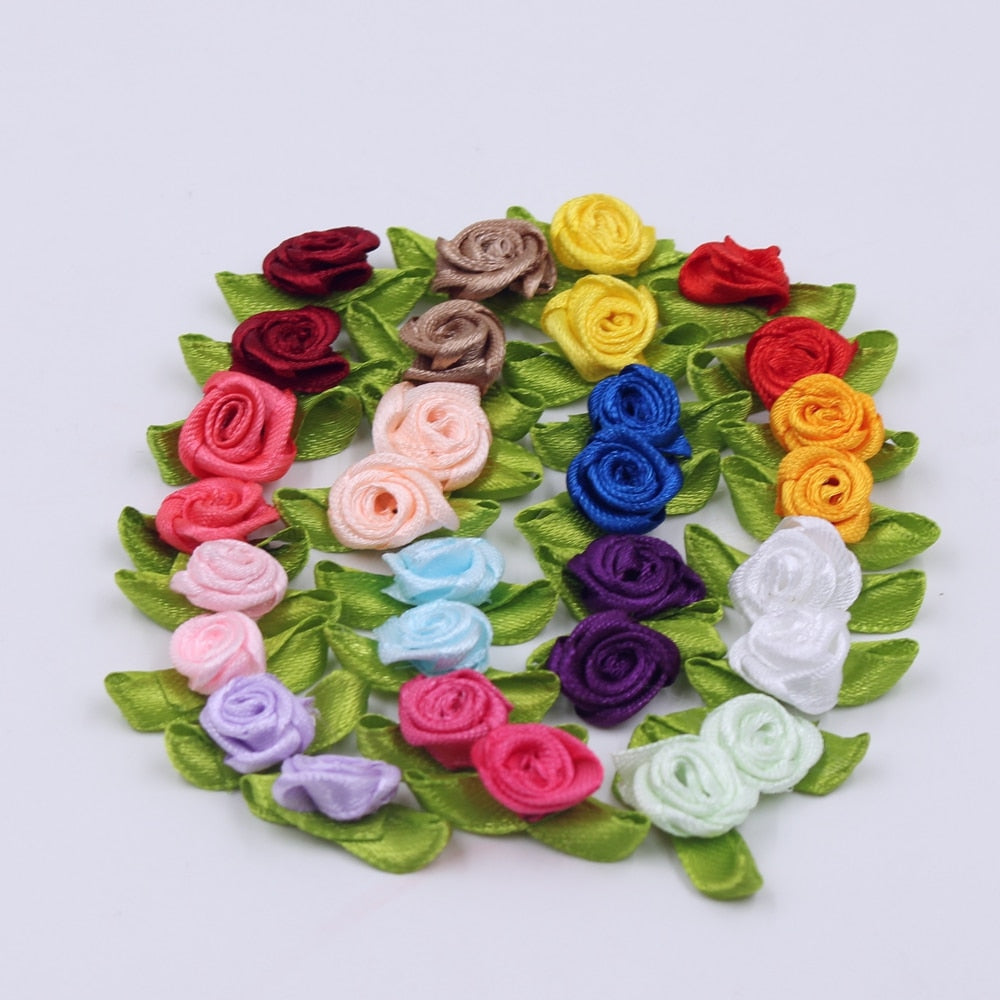 2cm 50pcs Lot Silk Bow Knot Mini Rosette For Home Wedding Party