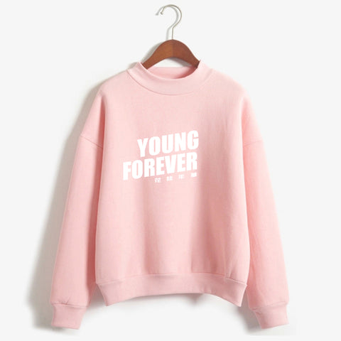Pink Hoodie Women Bangtan Boys Clothing BTS Kpop Hoodies Young Forever Printing k-pop Sweatshirt Drop Ship