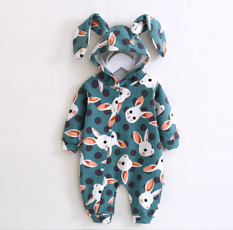 Cute Baby Romper Autumn Winter Newbron Boy Girl Jumpsuit Animal Rabbit Ear Style Baby Hooded Cartoon Clothing 2017 New Arrival