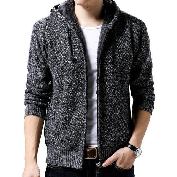 Winter Thick Warm Sweater Men Fur Liner Cardigan High-quality Men's Hooded Slim Fit Sweater Coats XXXL
