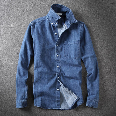 Autumn New Casual Long Sleeve Camisa Jeans Slim Plus Size Denim Shirt Men