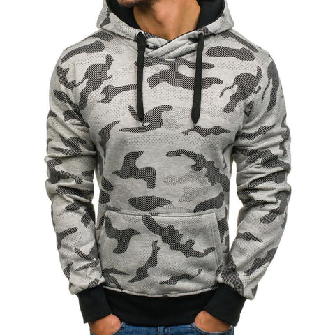 Brand Hoodies Men Long Sleeve Sweatshirt Camouflage Printed Pullover Hooded Sportswear Black Tracksuit