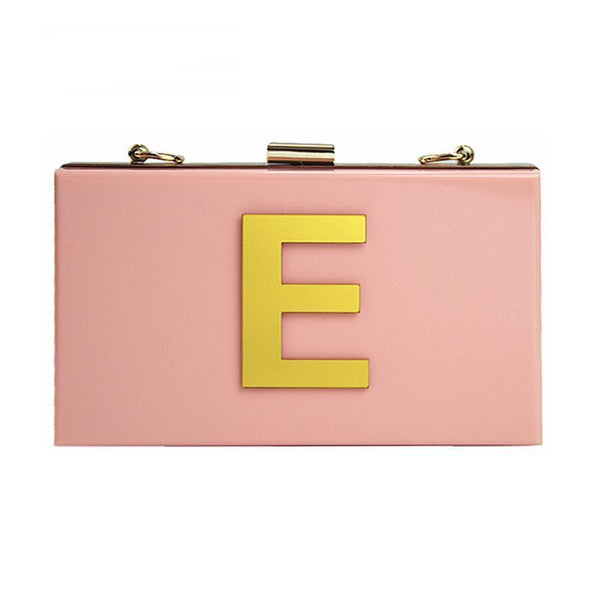 New Wallet letters brand fashion evening bag Woman Cute Acrylic Pink evening bag luxury noble shoulder bag elegant Clutch