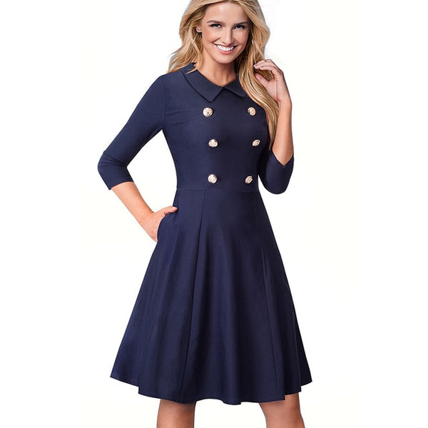 Nice-forever Vintage Solid Color Elegant Turn-Down Collar Work vestidos Button A-Line Pinup Business Women Flare Dress A070