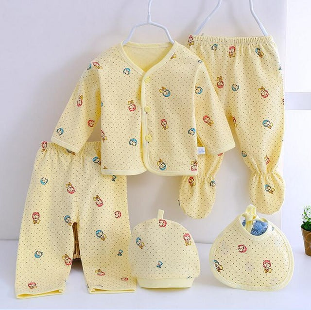 Baby Set Newborn Cotton Underwear Sets Newborns infant cartoon bear Suit Baby Clothing 5 pcs/set 6 colors