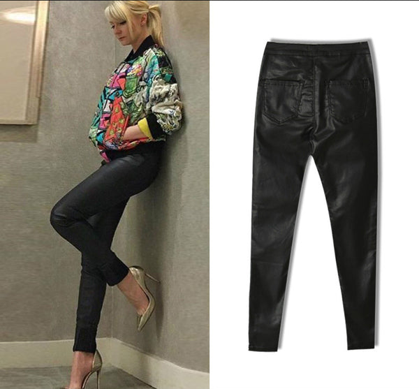High Waist Imitation Leather Jeans Women Fashion Black Elasticity Skinny Jeans Femme Push Up Slim Vaqueros Mujer Pencil Pants