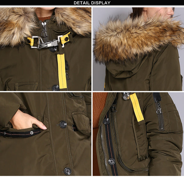 Women Thick Winter Jacket Big Faux Fur Hooded Warm Female Parka Coats Windbraker Polyester Overcoat Long Women's Parkas