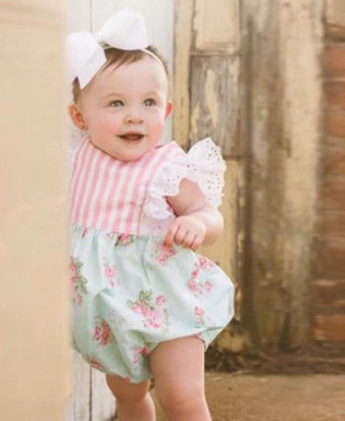 Cute Newborn Toddler Baby Kids Girl Lace Floral Fly Sleeve Heart Kids Romper Jumpsuit Outfits Sunsuit Baby Girls Clothes