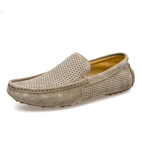 Men loafers summer holes breathable genuine leather shoes slip-on men casual shoes moccasins flat footwear size 38-44 8033m