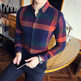 Men Shirt Flannel Plaid Long Sleeve Autumn Winter Vintage Shirt Men Causual Slim Fit Lattice Shirt Men Business Camicie Uomo 3xl
