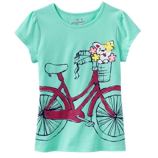 90a948d78 Jumping Beans Summer Girls Short-Sleeved T-Shirts Blue With Bike ...