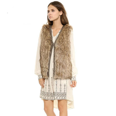 Edge Covering Women Brown Faux Fur Vests V-neck Sleeveless Coats Single Button Patchwork Fur Coats