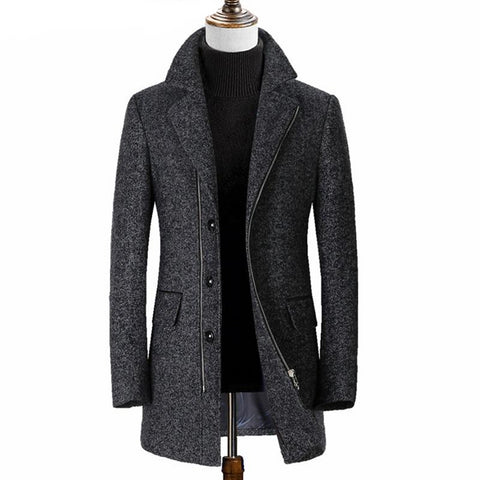 Mid Long Gray Winter Wool Coat Men Clothing Casaco Masculino Mens Woolen Jacket Overcoat Abrigo Hombre Invierno AL574