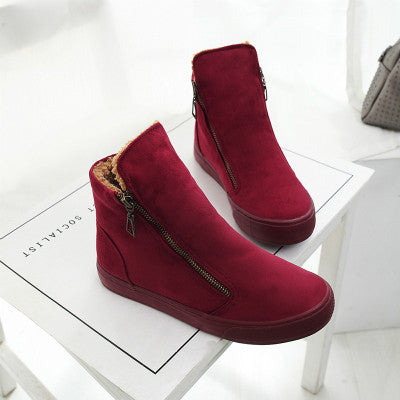 Winter Leather Autumn Fashion Trends Female Snow Boots Ankle High Side Zipper Black Brown Red Booties