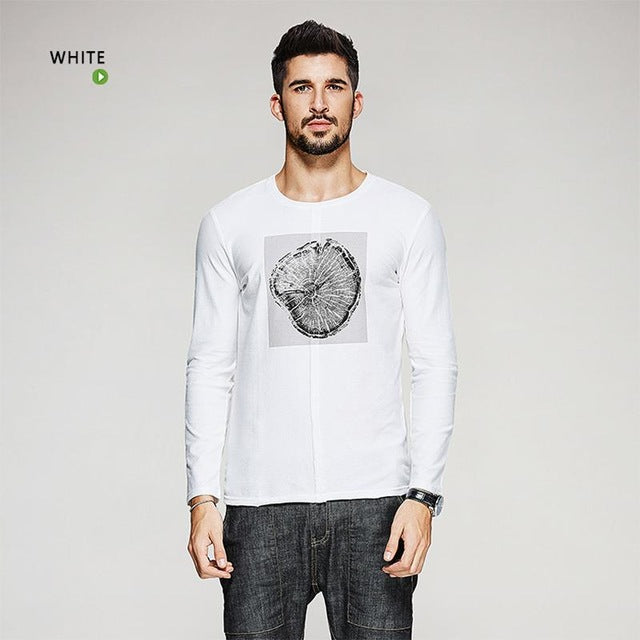 New Autumn Mens Fashion T Shirts Print Gray White Brand Clothing Man's Long Sleeve Slim Fit T-Shirts Male Tops Tees 0325