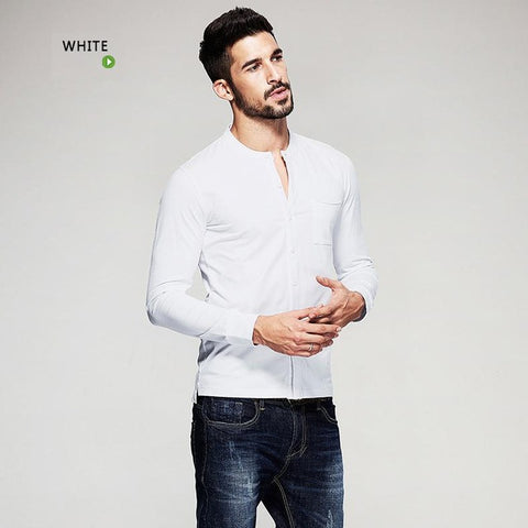 Autumn Mens T Shirts Button Black White Brand Clothing Long Sleeve Man's Cardigan T-Shirts Male Plus Size Tops Tees 765