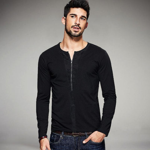 Autumn Mens Casual T Shirts Zipper Patchwork Black Color Brand Clothing For Man's Slim Long Sleeve T-Shirts Tops Tee 1098