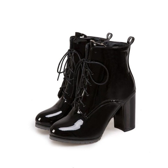 70133a4dce8e6 New Super Big Small Winter warm ankle Boots Patent Leather shoes Women |  JOHNKART.COM. }