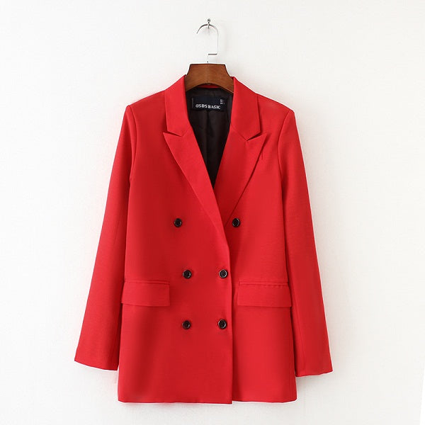 New Arrival Autumn Winter Women Red Blazer Double-Breasted Button Notched Collar Flap Pockets OL Work Office Suits Outwear