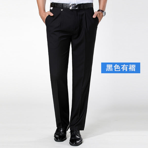 winter business men's solid casual suit pants straight office man cotton long pants male formal trousers pantalones