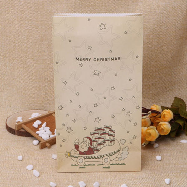 Eco Friendly Kraft Paper Bag Merry Christmas Gift Bags Lovely Cookies Present Gift Bag Luxury Wedding Bag