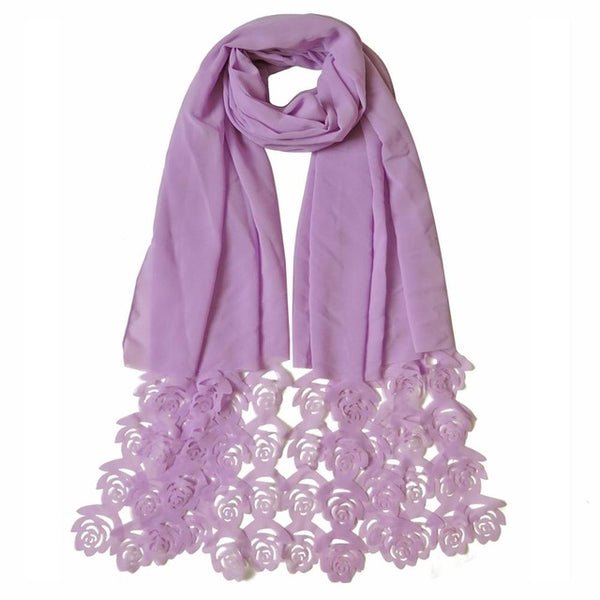 180*85cm Popular Rose Flower Laser Cut Bubble Chiffon Headbands Hollow Shawls Hijab Wrap Muslim Scarves Head Scarf