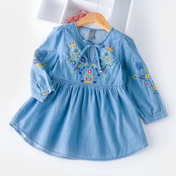 Autumn Cotton Denim dress Little Girls floral dress vintage embroidery flower dresses Toddler Clothing For Party