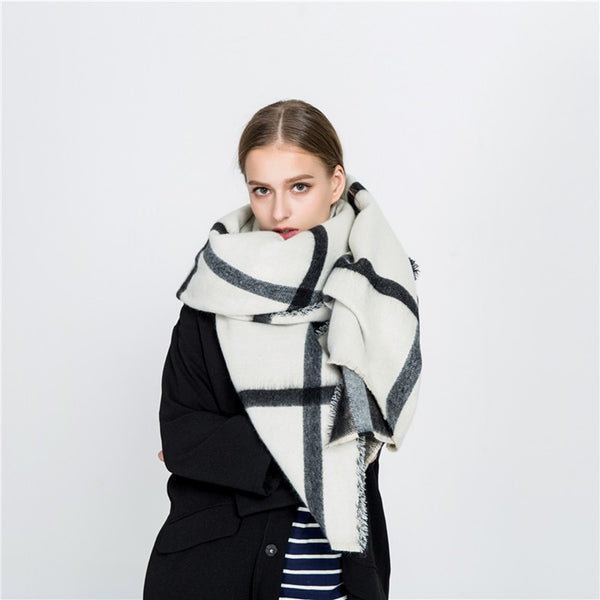 Women Shawls Stoles Winter Warm Scarf Luxury Brand Soft Fashion Thicken Plaid Wraps Wool Cashmere Scarves for Women