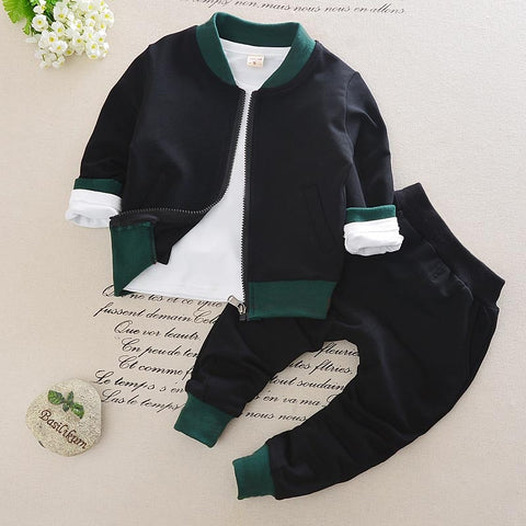 Kid Toddler Baby Boy Girl Clothing Sports Suit 3PCS Fashion Striped Boys Clothes Girl Kids Boy Clothing Set Shirt + Pants + Coat
