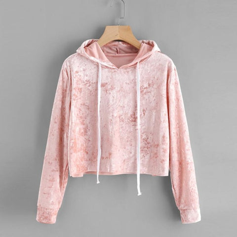 Pink Velvet Hoodies Women Hood  Autumn Sweatshirt Women Long Sleeve Cropped Hoodie Sweatshirt Jumper Pullover Female #915