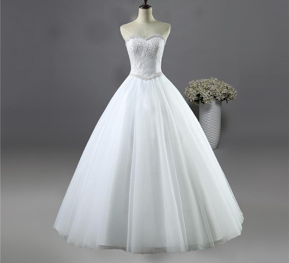 White Ivory Lace Strapless Wedding dresses Corset Bridal Ball Pearl ...