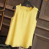 Shirt Women Summer Chiffon Tops White Sleeveless Blouses For Women Clothes Ruffle Elegant Vintage Feminine Shirts T098