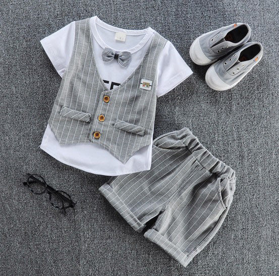 children handsome clothing kids casual T-shirt with fake vest+ pant 2Pcs/set boys fashion summer sets.