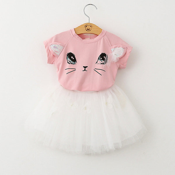 Clothes 100% Summer Fashion Style Cartoon Cute Little White  Cartoon Dress Kitten Printed Dress