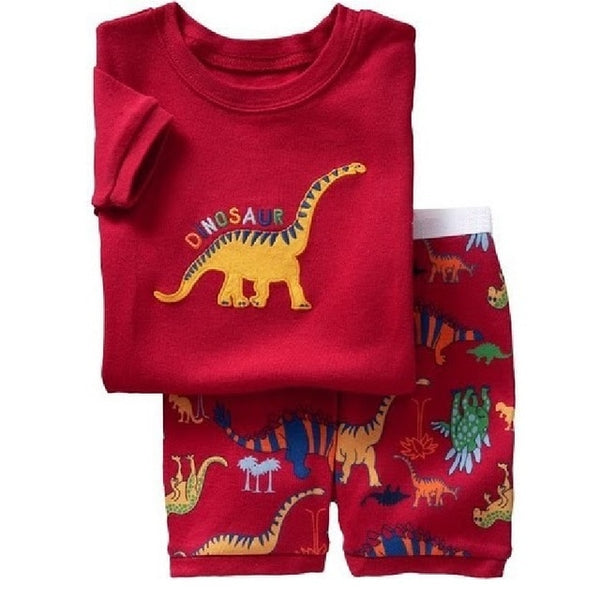 Fashion Boys Pajamas Suit Summer Children Dinosaur Baby Sleepwear Baby Boy's Clothes 100% Cotton Tee shirt Short Pants Soft