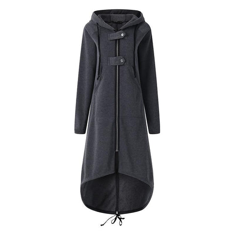 Hoodies Hooded Long Sleeve Women Zip Drawstring Sweatshirt Winter Long Irregular Hem Coat Solid Outwear