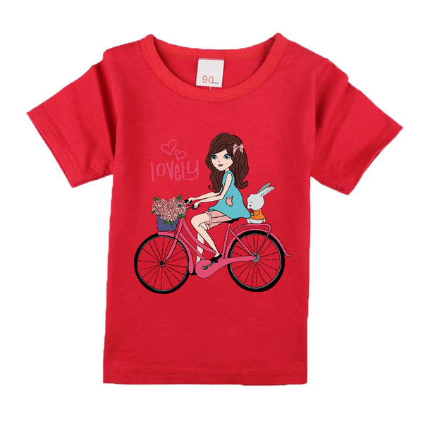 1T-15T Wear New  children girls bike patterns t shirts cotton material girls T-shirts cute round neck high quality clothes