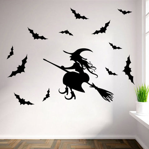 Flying Witches Wall Stickers Living Room Wall Window Outdoor Decor Witch Silhouette Vinyl Decals Removable Art Mural