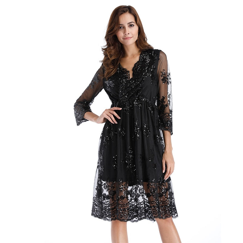 V neck long sleeve sequin party dresses women Sexy mesh streetwear casual midi dress female 2017 autumn dress vestido