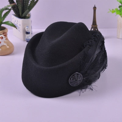 Australian Hats Elegant Wool Feather Bow Airline Stewardess White Women's Fedora Caps Formal Lady Hat Royal Style DomeChapeu