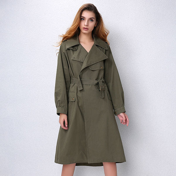 New Autumn Fashion Women's Casual Long trench coat Army Green Cotton Canvas Turn-Down Pockets Loose Coat AO3703