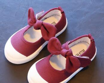 Spring Children Canvas Casual Shoes Kids Lovely Bow Flat Heels Shoes Girls Princess Solid Color Sneakers