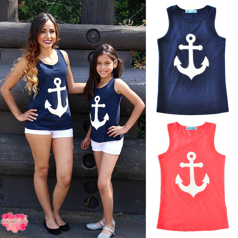 Mother and daughter dress anchor summer dress sleeveless girls T-shirt anchor bow sleeveless vest family matching outfits dress