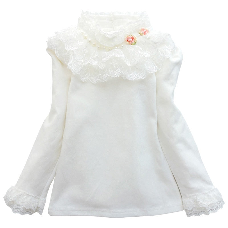 Spring Autumn Girls Clothing Lace Flower Long Sleeve Girls T shirt Long Sleeve Basic Shirt Cotton Kids Tops Girls