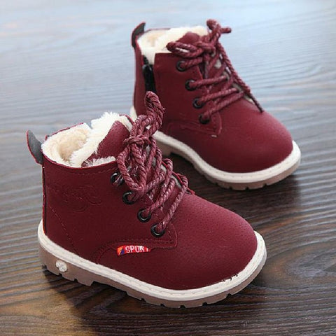 New Winter For Child Kid Girl Boy Snow Boots Comfort Thick Anti Slip Short Boots Fashion Cotton-padded Shoes