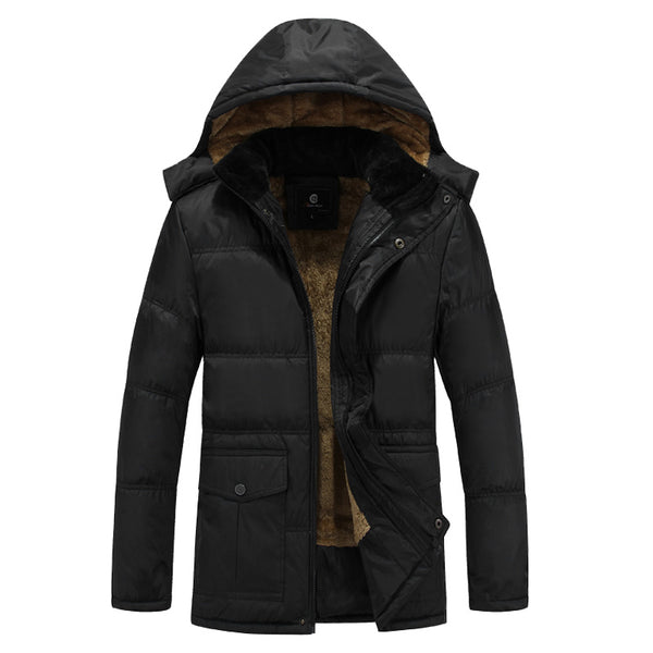 Brand New 5XL Plus Cashmere Parka Men Winter Coat 2018 Mens Thicken Warm Plush Lined Black Hooded Jackets Plus Size Outerwear