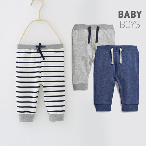 Striped Baby Leggings Pants Newborn Boys Drawstring Pants Cotton Sports Pants Trousers Spring and Autumn Boy Clothing
